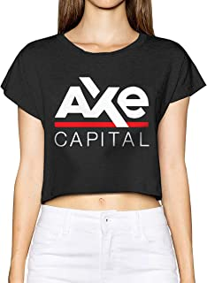 Womens Cotton T-Shirt Axe Capital Crop Top Short Sleeve Graphics Tees
