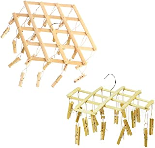 BHDYHM Foldable Portable Hook Bamboo Pegs Drying Rack Clothes Hanger for Underwear Socks Gloves (Size : 162)