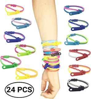 Kleach 24 Pack Friendship Fidget Zipper Bracelets Sensory Toys Bulk Set Neon Colors, Kit for Birthday, Party Favors for Kids, Goodie Bags, Pinata Filler, Small Prizes