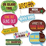 Funny Luau - Hawaiian Party Photo Booth Props Kit - 10 Piece