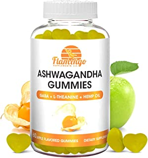 Ashwagandha Gummies with L-Theanine, GABA, and Hemp- Stress Gummies for Relaxation - Vegan, Dairy Gluten and Free, Apple F...