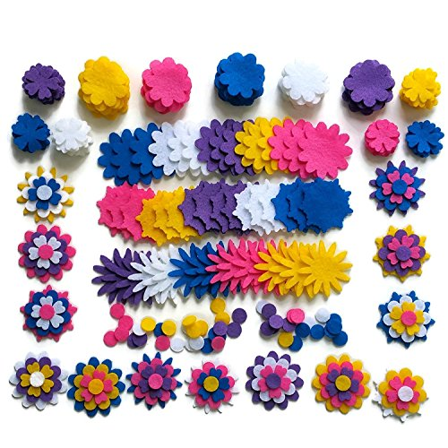 240Piece -Craft Felt Flowers - Assorted Color Felt Flower Shapes - by Wildflower Toys