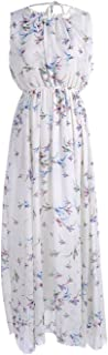 Anna-Kaci S/M Fit White with Colorful Birds Print Gathered Neckline Maxi Dress
