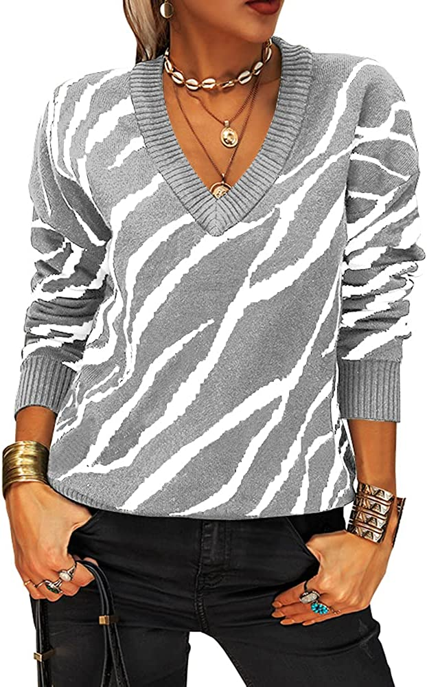 Women V Neck Knitted Max 53% OFF Sweater Striped Pullover Casual Miami Mall Sleeve Long
