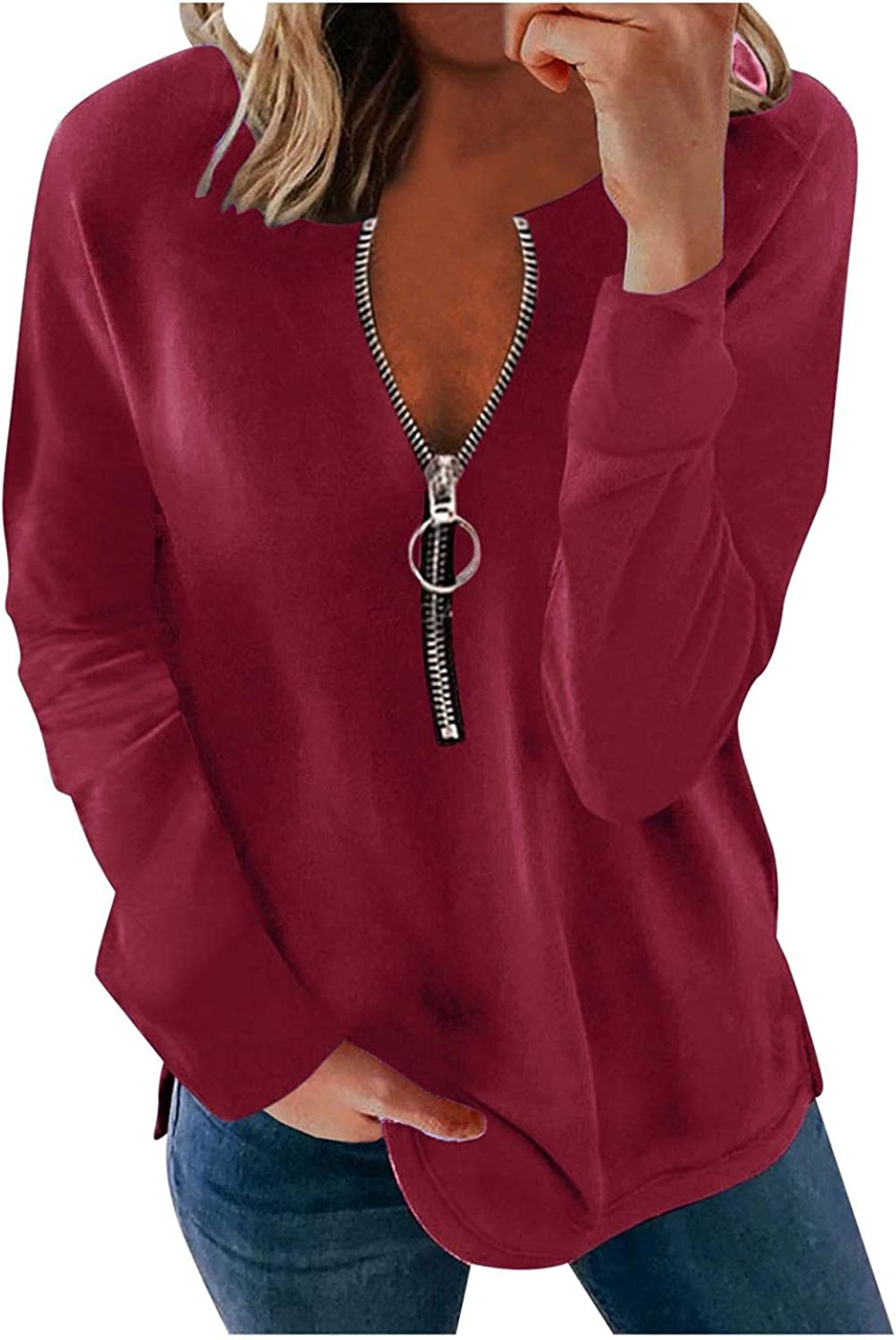 felwors Womens Tops and Blouses, Womens Zip Up Round Neck Tunic Tops Long Sleeve Shirts Casual Plus Size Blouse Tees
