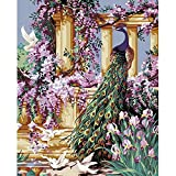 Tonzom Paint by Numbers Kits Diy Oil Painting for Kids, Students, Adults Beginner - Peacock and Flower 16 x 20 inch with Brushes and Acrylic Pigment (Without Frame)