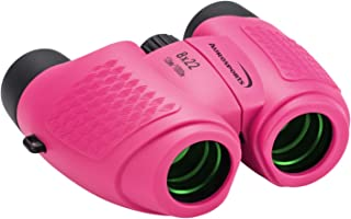 Aurosports Compact Kids Binoculars, 8x22 High Powered Toy Binocular for 4-7 Years Old Girl, Best Birthday Present Gifts for Bird Watching Camping Hiking Rose Red