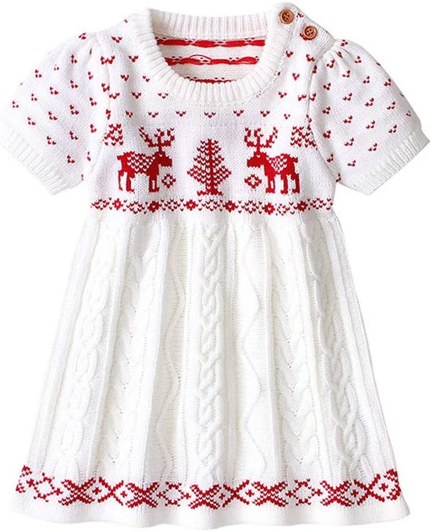 Shan-S Newborn Infant New York Mall Christmas Knitted Sleeve Short Max 70% OFF Kid Sweater