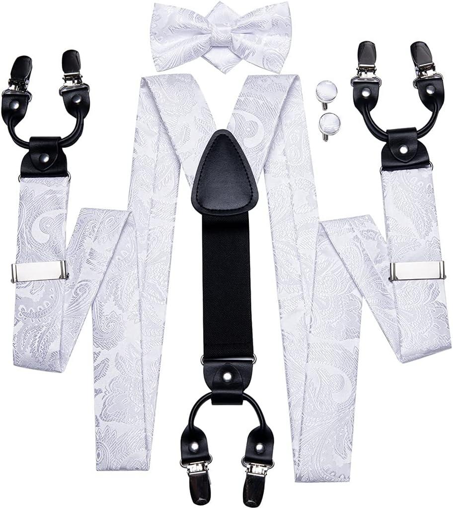 NJBYX Men's Suspender for Trouser 6 Straps Leather Suspender White for Men Jeans Work Suspenders and Tie Wide Belts (Color : A, Size : Adjustable)