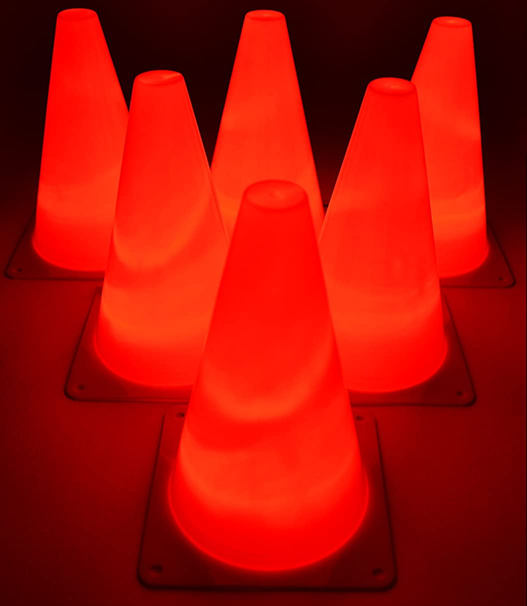 GlowCity Light Up LED Agility Cone Set 7 Inches Tall (6 Pack)