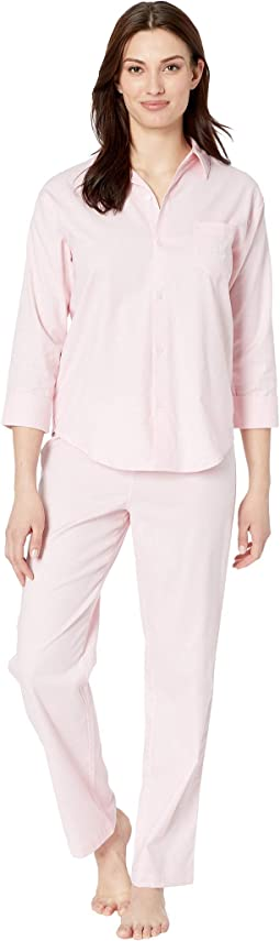 0cd6e2817 Pink Herringbone Print. 21. LAUREN Ralph Lauren. His Shirt Long Pajama Set