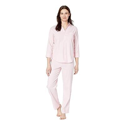 LAUREN Ralph Lauren His Shirt Long Pajama Set (Pink Herringbone Print) Women
