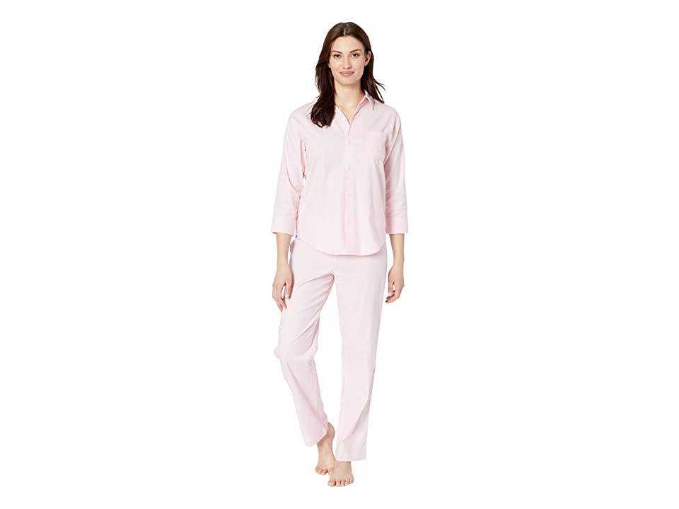 LAUREN Ralph Lauren His Shirt Long Pajama Set (Pink Herringbone Print) Women
