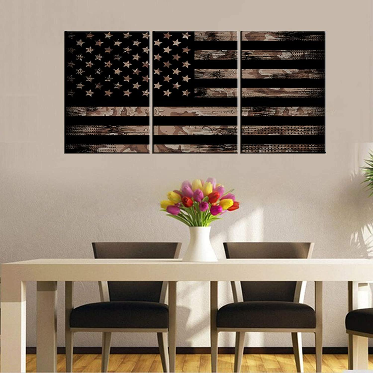 Pictures for Living Room American Flag with Desert Camouflage Paintings Patriotism Artwork 3 Piece Prints Wall Art on Canvas Bedroom Giclee House Decor Framed Stretched Ready to Hang(48''Wx24''H)