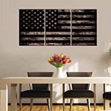 Picture for Living Room America Flag with Desert Camouflage Paintings Black and White Wall Art Patriotic Artwork 3 Piece Prints on Canvas Giclee House Decor Framed Stretched Ready to Hang(48''Wx24''H)