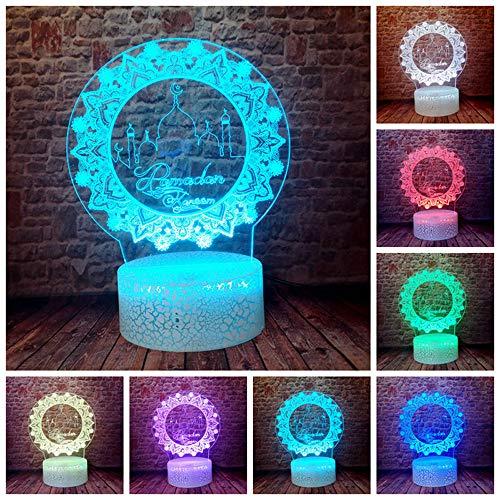 Neues Ramadan Muster Eid AlAdha Muslim Festival Shop Büro 3D LED Nachtlicht USB Tischlampe Kinder Geburtstagsgeschenk Nachttisch Dekoration