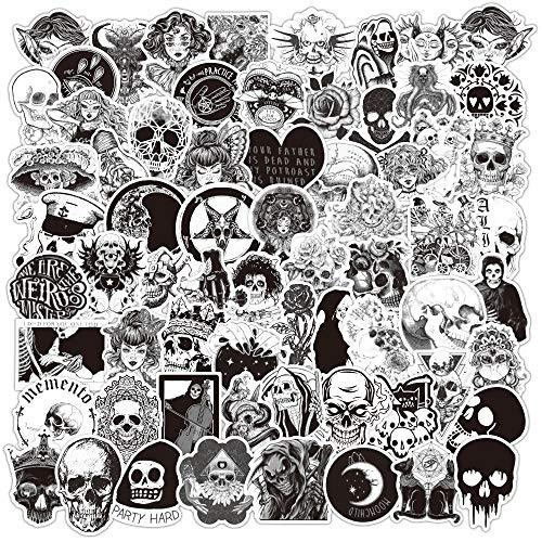 PRETTYSUNSHINE 100 Stücke Sticker Schwarz Weiss, Gotisch Aufkleber Graffiti Sticker für Koffer Laptop Helm Auto Motorrad Fahrrad Skateboard Scrapbook Ordner, Wasserdicht Vinyl Sticker