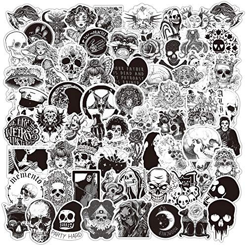 Goth Stickers Pack 100Pcs, Waterproof Vinyl Decal Stickers for Skateboard Water Bottle Hydro Flask Laptop Computer Phone Motorcycle, Black and White Stickers, Cool Gothic Stickers for Adults Teens