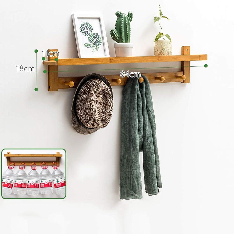 MEIDUO Coat Racks Solid Wood Entryway Organization Wall Mountable Coat Rack with Hooks 4 Sizes (color   Wood, Size   84cm-6 Hooks)