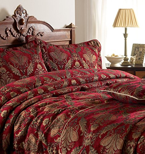 Riva Paoletti Shiraz Colcha - Burgundry Rojo Y Oro - Bordado Floral del Damasco Jacquard - Peso Pesado De Tela - 100% Poliéster - 275 X 275Cm (108