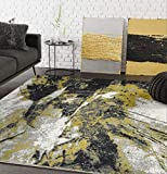 Contemporary Abstract Turkish Area Rug, Laguna Collection Grey & Yellow Modern 4' x 6' Rectangle Accent - Abani Rugs