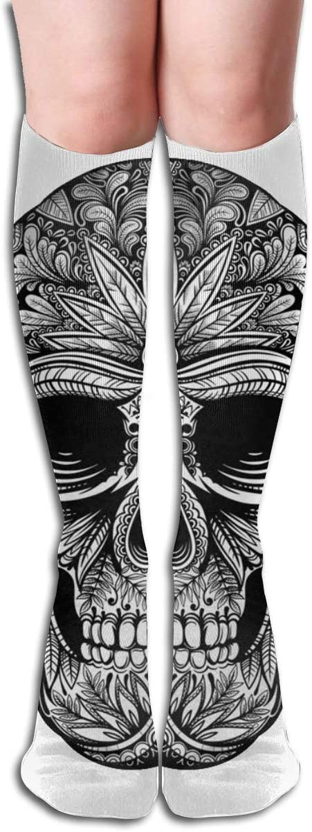 Black White Tattoo Skull Abstract Vintage Casual Socks Athletic Socks for Women and Mens Sports, Travel, Party Etc 19.7 Inch