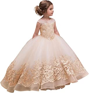 Elegant Flower Girl Dress for Wedding Kids Sleevelesss Lace Pageant Ball Gowns