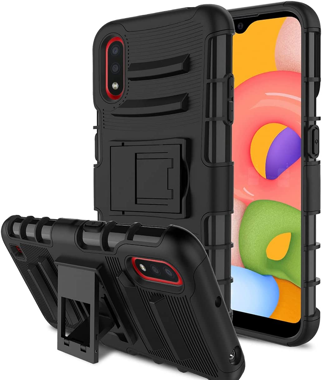 RioGree Phone Case for Samsung Galaxy A01 with 2 Pcs Screen Protector Kickstand Heavy Duty Durable for Women Men Girls Boys - Black