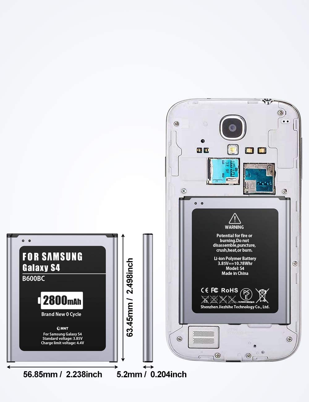 2800mAh Battery for Galaxy S4,EMNT Li-ion Replacement Battery for Samsung S4【2020 New Version】Extra Battery Without NFC【2 Years Warranty】