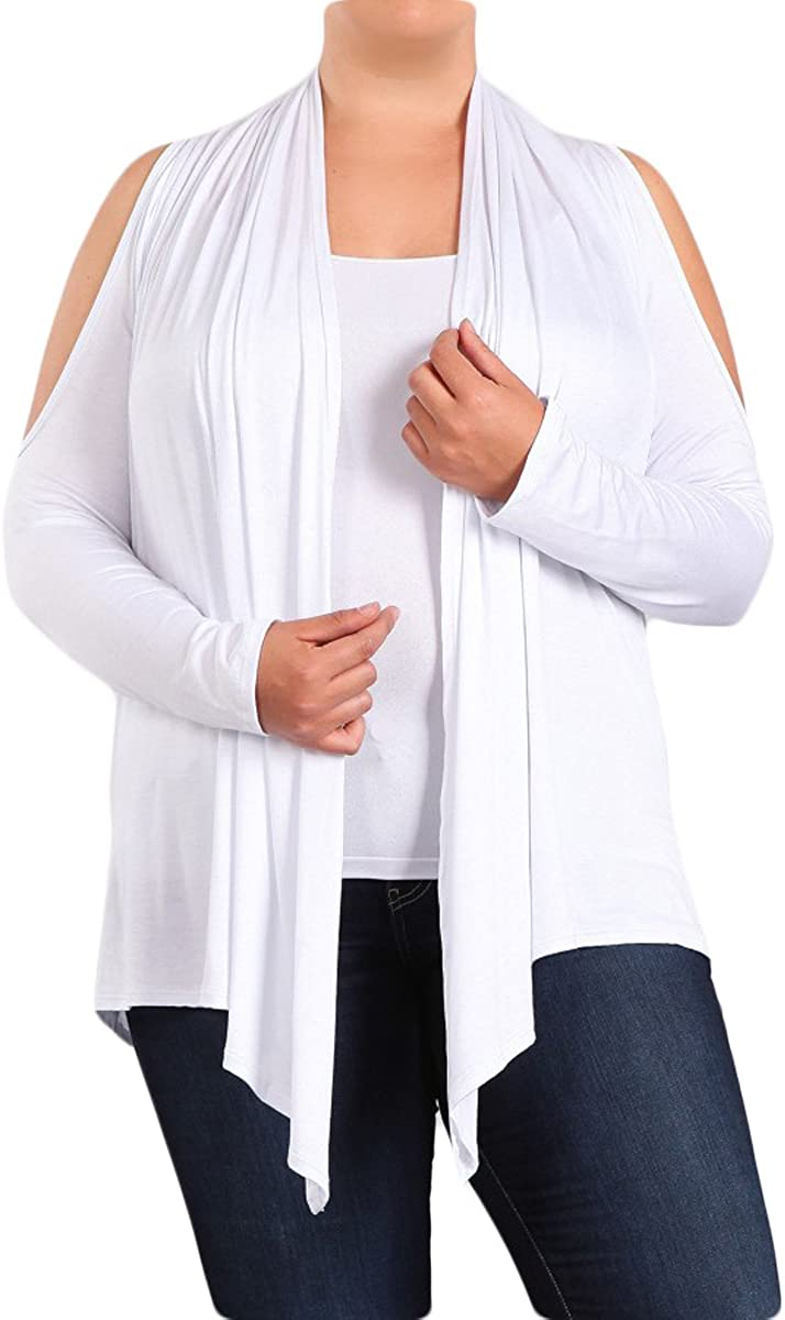 HEYHUN Women's Casual Relaxed Fit Cold Shoulder Asymmetric Cardigan