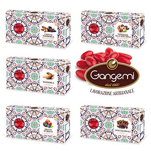 Gangemi Confettata Laurea - Degustazione Confetti Artigianali Gusti Misti Confetti Rosso Laurea - Pacco da 5 x 500 g