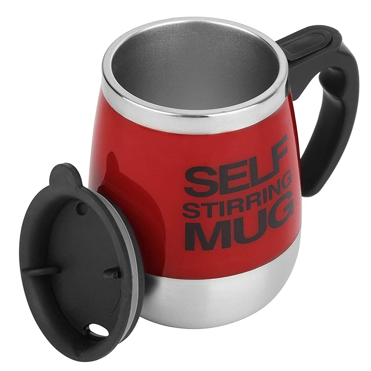 霧深いライバル動かすSaikogoods 450ミリリットル ステンレス鋼 自己攪拌マグカップ 自動ミキシング ティーコーヒーカップ 自動 電気コーヒーカップを飲みます 赤