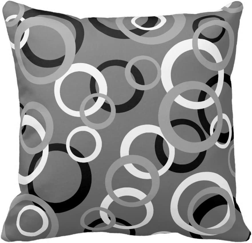 Amazon Com White Gray And Black Circle Print Decorative Throw Pillow Cover Cushion Cover Home Office Square For Room Sofa Home Kitchen