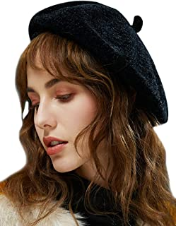 YI HENG MEI Women's Fashion Vintage French Style Chenille Berets Hat Beanie Artist Cap