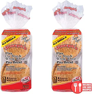 2 Pack Joseph's Flax, Oat Bran and Whole Wheat Flour MINI Pita Bread (Low Carb)