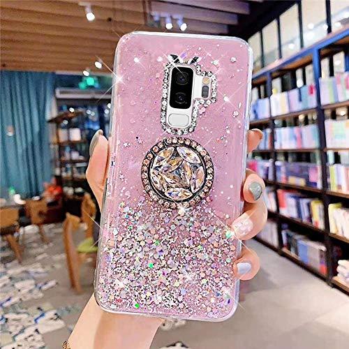 Uposao Kompatibel mit Samsung Galaxy S9 Plus Hülle Glitzer Silikon Handyhülle mit Ring Halter Ständer Schutzhülle für Mädchen Glänzend Bling Strass Diamant Transparent TPU Handyhülle,Rosa