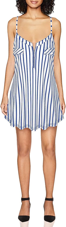 BAIKEA Women's Zipper V-Neck Spaghetti Strap Vest Summer Cami Tank Tops