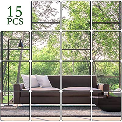 KimDaro Removable Acrylic Mirror Setting Wall Sticker Decal DIY Modern Decoration for Home Living Room Bedroom Decor (15 pcs 20cmx20cm)