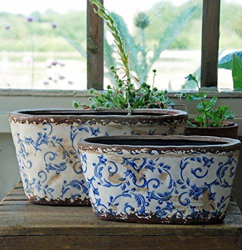Bluebell Yard Maceta ovalada de cerámica grande Hampton azul y blanco