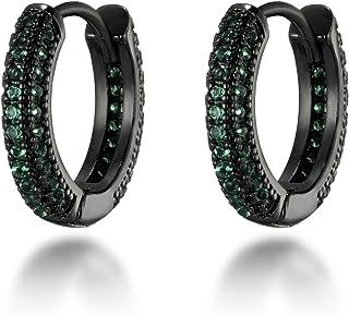 FEEL STYLE Iced Out Huggie Hoop Earrings Cubic Zirconia Stud Earrings for Women Men Diamond Fashion Rapper Jewelry Gifts