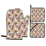 Juego de 4 manoplas para horno y soportes para ollas,estampado de flores moradas de color rosa intenso de la naturaleza,guantes de poliéster para barbacoa con forro acolchado,