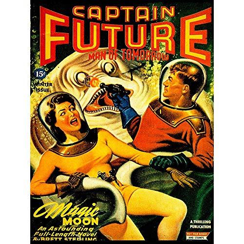 Wee Blue Coo Comic Book Cover Captain Future Man Tomorrow Sci Fi Monster USA Art Print Poster Wall Decor Kunstdruck Poster Wand-Dekor-12X16 Zoll
