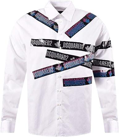 DSQUARED Camisa blanca de manga larga con logotipo impreso 2 ...