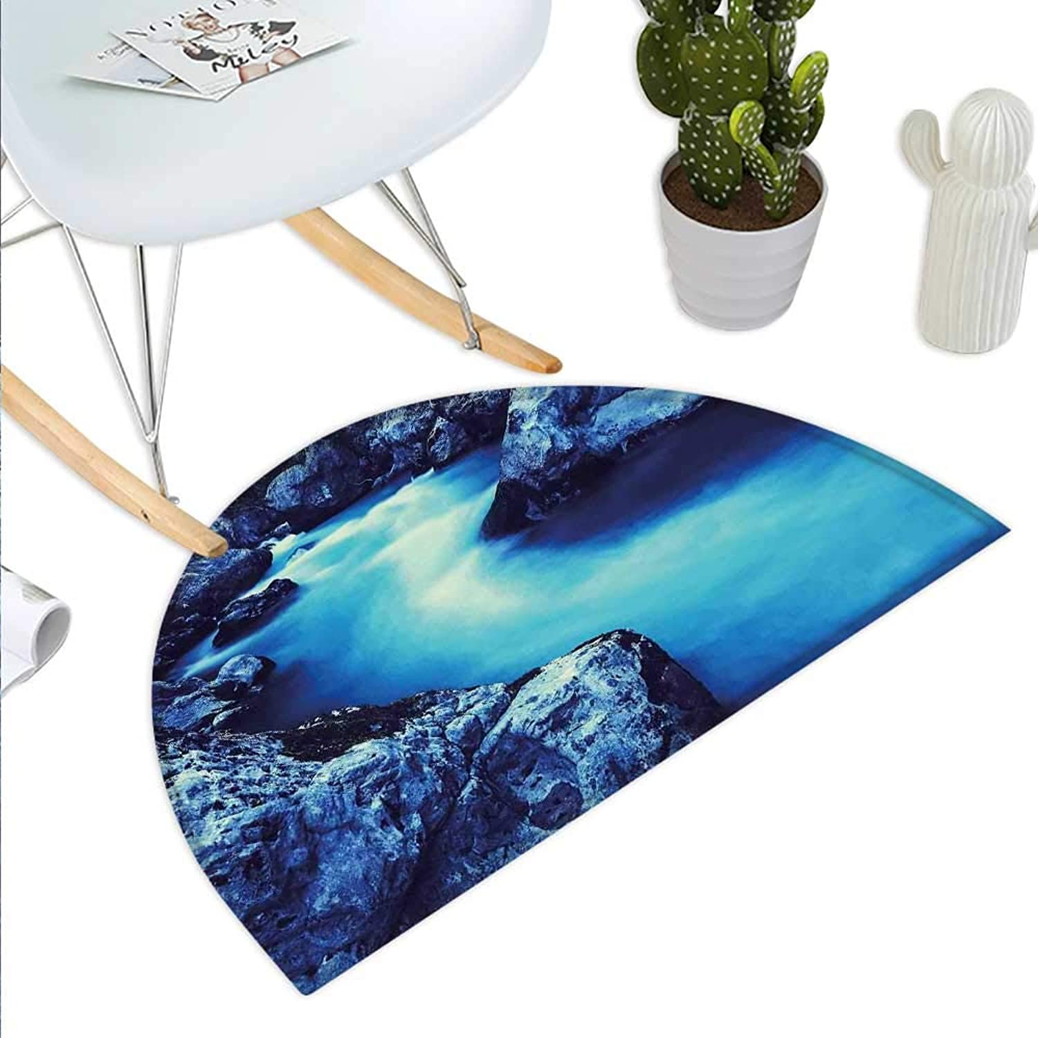 Waterfall Semicircle Doormat Frozen Dangerous Lake with Atmosphere of a Cave and Snow on The Rocks Nature Halfmoon doormats H 47.2  xD 70.8  bluee and Black