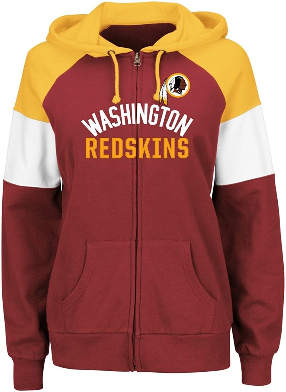 4233ea1c Majestic Washington Redskins Women's Route Red Zip Hooded Sweatshirt ...