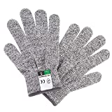 Cut Resistant Gloves, Food Grade, Level 5, Anti Cutting for Kitchen Knives, Meat Cutting, Mandolin Slicing, Graters, Fish Fillet, Butchering, Oyster Shucking and Wood Carving (Small)