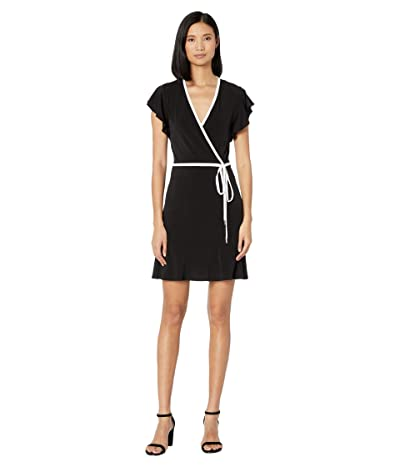 MICHAEL Michael Kors Solid Wrap Piping Dress (Black) Women