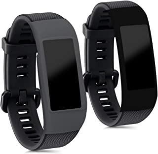 kwmobile Cases for Huawei Honor Band 3 / Band 3 Pro - Set of 2 Silicone Covers (Fitness Tracker Not Included) - Black/Grey