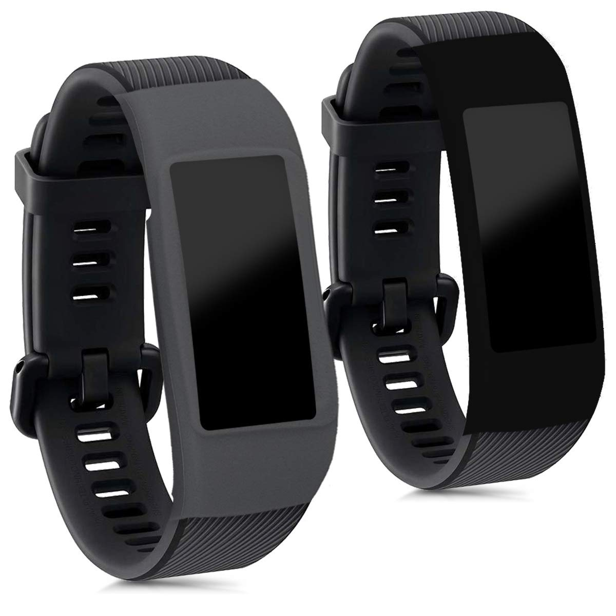 Fitness Tracker Not Included - Black//Dark Blue Set of 2 Silicone Covers kwmobile Cases for Fitbit Charge 2