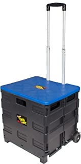 dbest products Quik Cart two Wheeled Collapsible Handcart with Blue Lid Rolling Utility with Seat Heavy Duty Lightweight